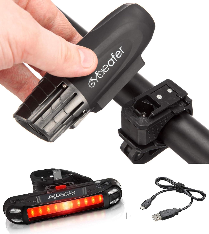 Cycleafer® Luz de Bicicleta Recargable USB Set Super POTENTE ...