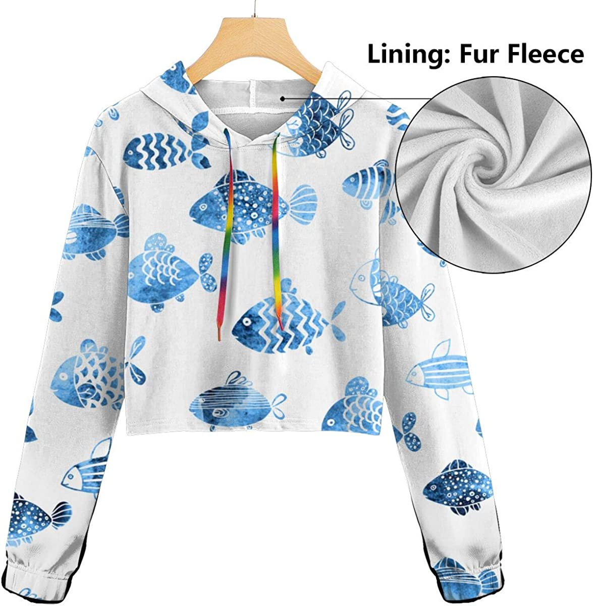 Cute Long Sleeve Sports Tops Womens Blue Fish Crop Tops Pullover Sweatshirt