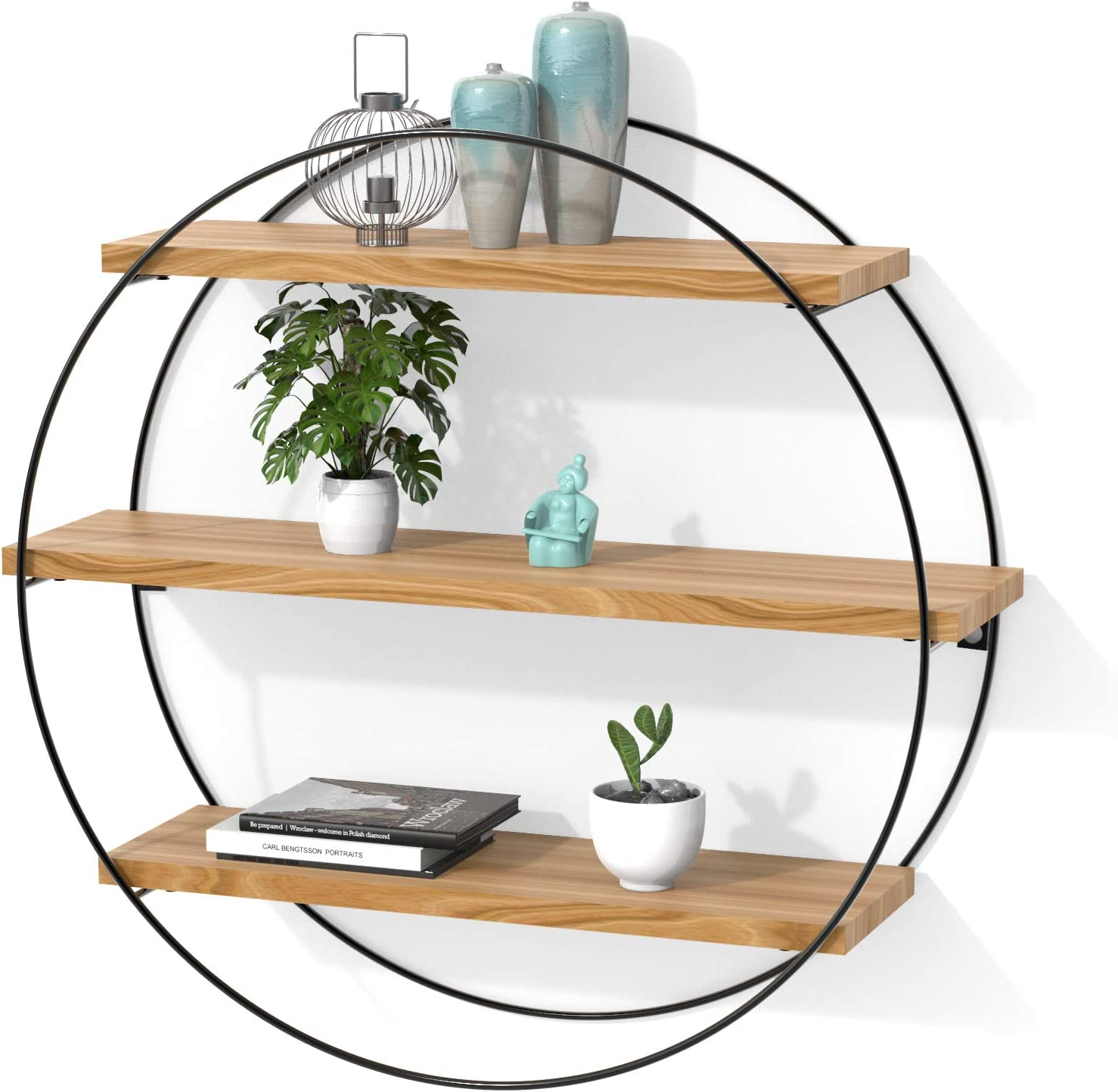INMAN Floating Shelves for Wall, Rustic Wood Wall Shelves, Farmhouse Decorative Wood Shelves for Bathroom, Bedroom, Kitchen Decor and Storage, Metal Frame, Round Shape