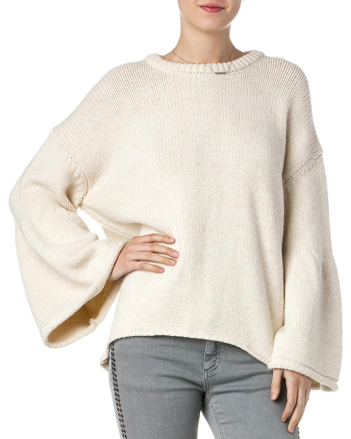 Miss Me Women's Women&Rsquo;S Knitted Bell Sleeve Sweater Beige/Khaki Small