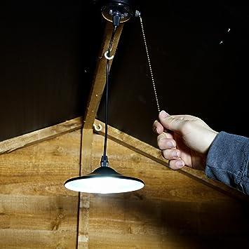 Festive Lights - Luz LED para cobertizo, Funciona con energía Solar, Color Blanco Brillante, sin Mando a Distancia, Cable de tracción: Amazon.es: Jardín