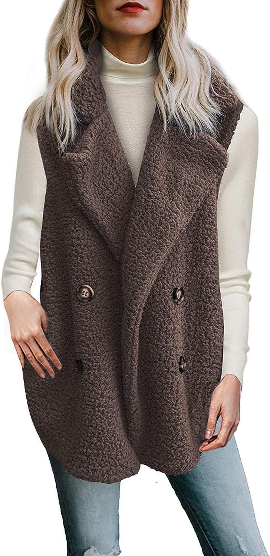 Malaven /ärmellose Lammfellweste f/ür Damen mit Kn/öpfen Fleece-Outwear mit Taschen