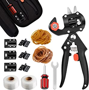 Garden Grafting Tool Kit, 2-in-1 Pruner Kit for Vine Fruit Tree Grafting, Plant Branch Twig Cutting Pruning Shearing Scissor, with Grafting Tapes, Rubber Bands and Blades (V-cut Omega-cut and U-cut)