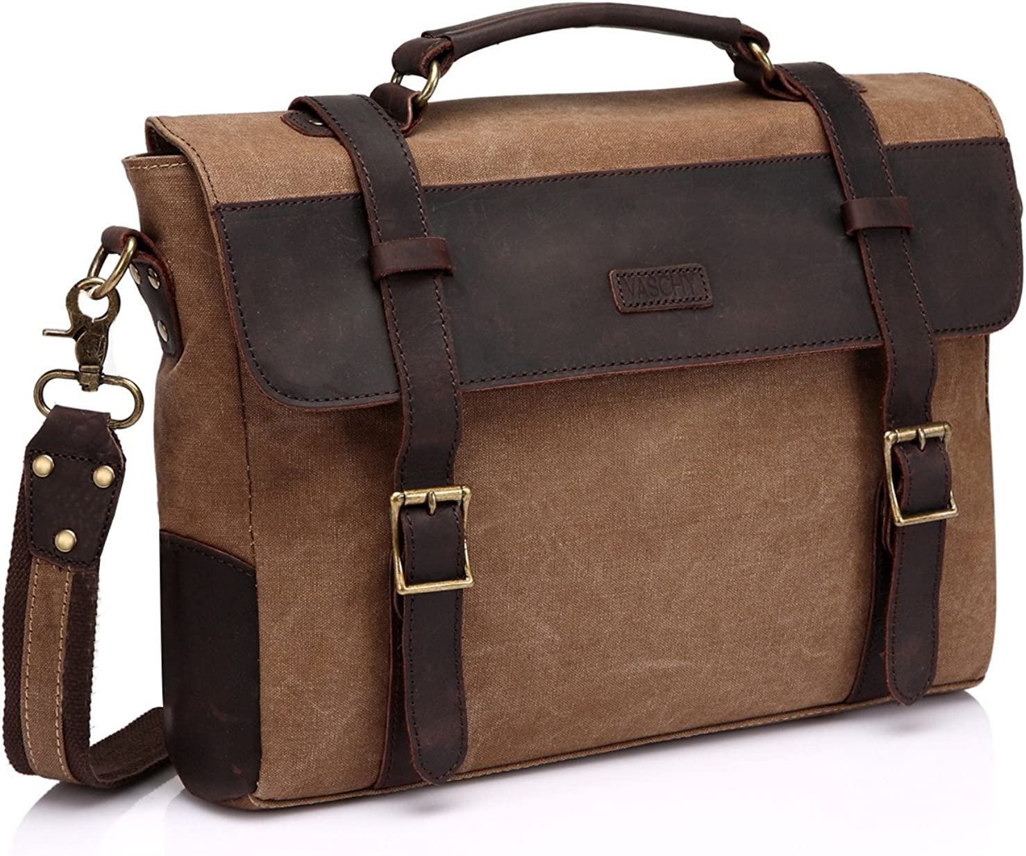 Messenger Bag for Men,Vintage Canvas Leather Canvas Laptop Satchel Shoulder Bag Business Briefcase