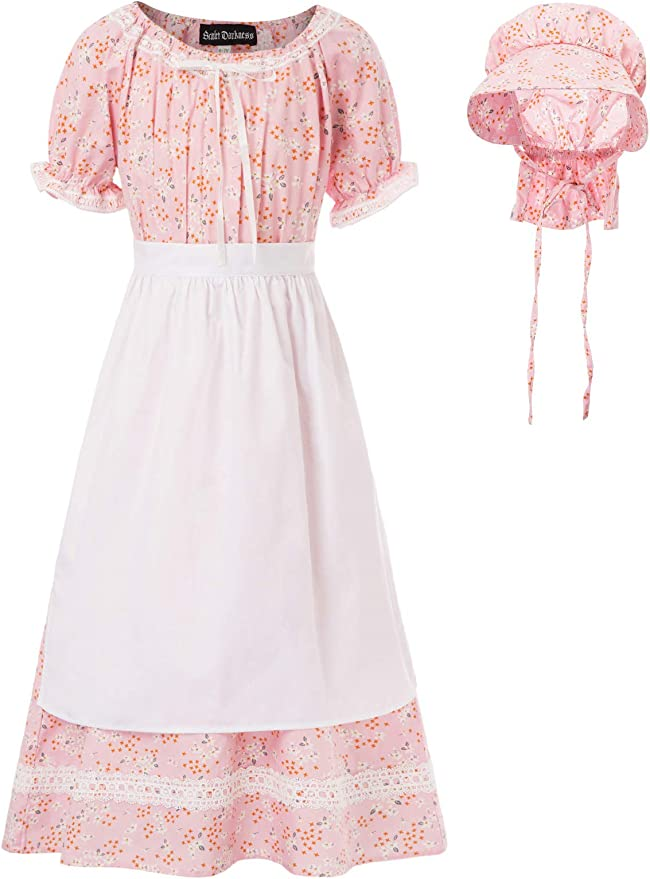 Victorian Kids Costumes & Shoes- Girls, Boys, Baby, Toddler SCARLET DARKNESS Pioneer Costume Floral Colonial Dresses for 6-15 Year-Old Girls $25.99 AT vintagedancer.com
