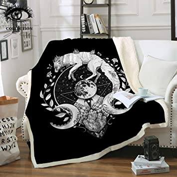 - Black Super Soft Cozy Snuggly Luxurious Chick Plush Sherpa for Bed Couch Sofa Chair Office Chanasya Gold Fox Lush Nature Vibrant Color Print Decorative Fleece Throw Blanket 50 x 65 Inches