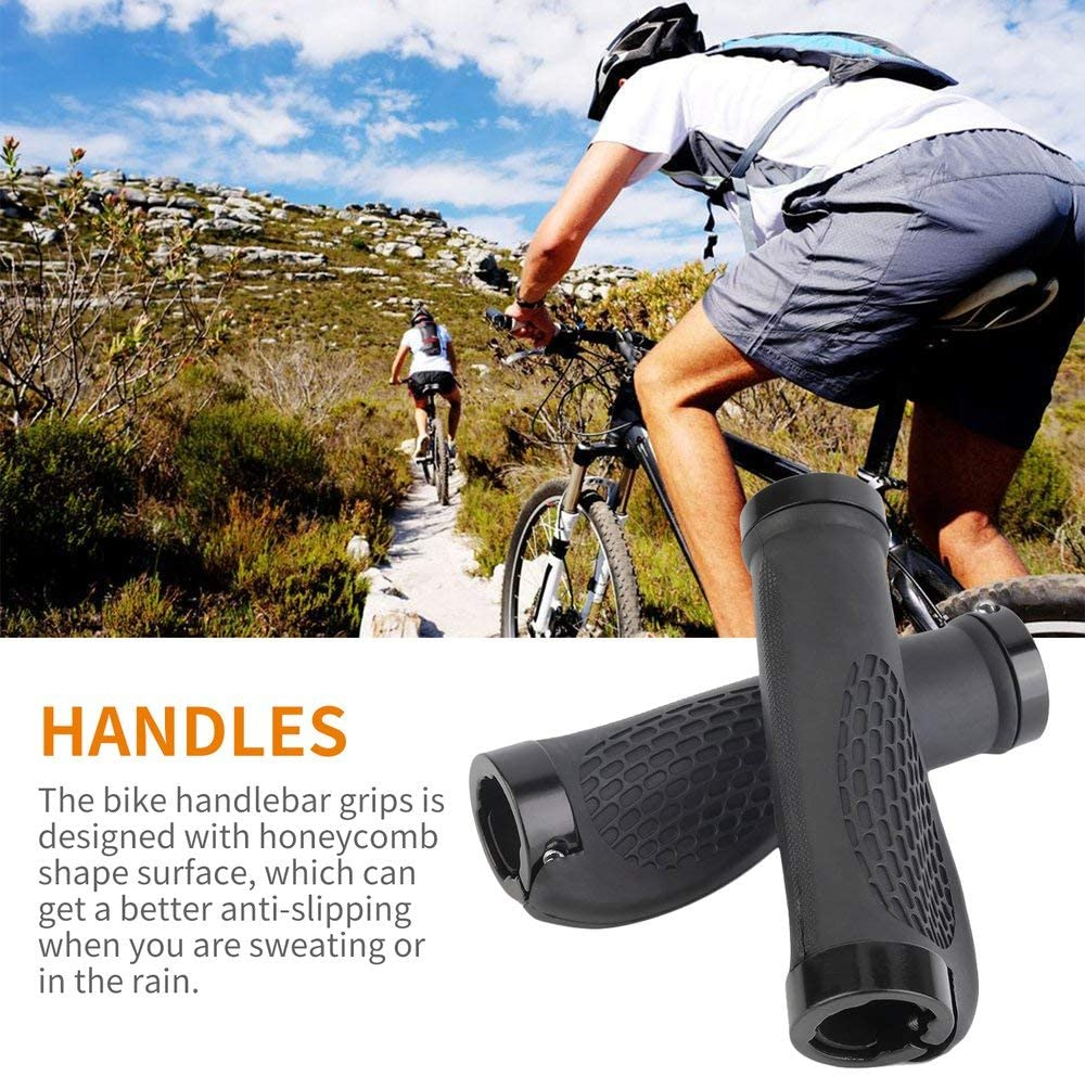 TPR Environmental Protection Rubber ergonomics Shock Absorption Shockproof Bicycle Handle etc Bicycle Grip Rubber Non-Slip Design Color : Black Suitable for Mountain Bikes Bicycle Handle