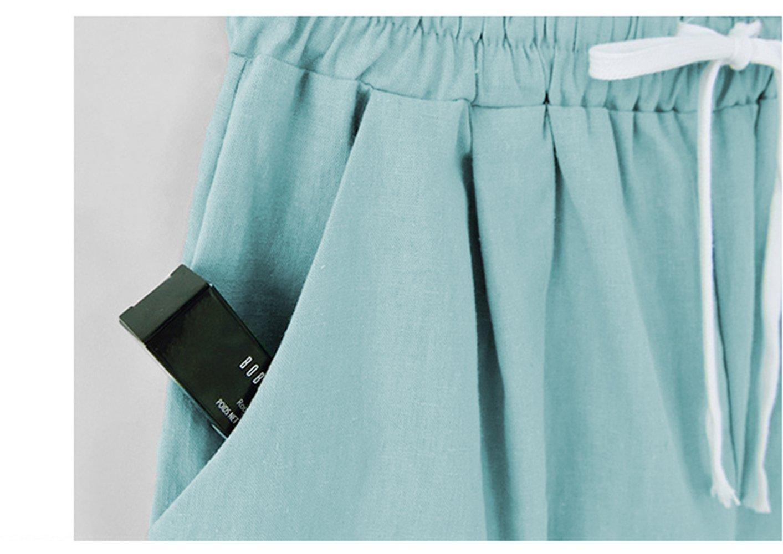 Fuwenni Women's Plus Size Casual Cotton Elastic Waist Knee-Length Bermuda Shorts with Drawstring Black XXL by Fuwenni (Image #3)