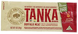Bison Pemmican Meat Bars with Buffalo & Cranberries by Tanka, Gluten Free, Beef Jerky Alternative, Spicy Pepper, 1 Oz, Pack of 6
