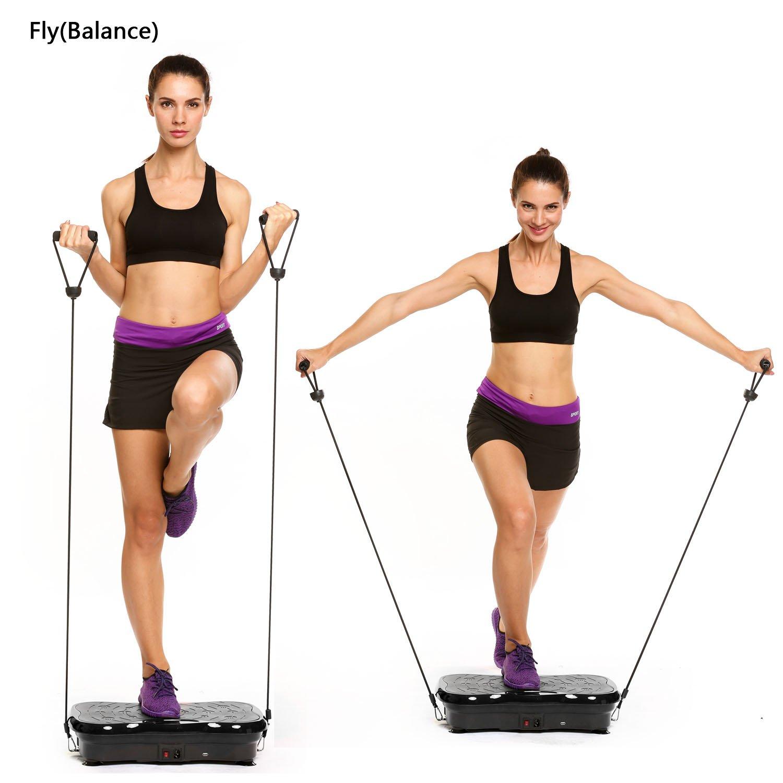 /écran Bunao 3D Fitness avec Plateforme de Vibration,Mat/ériel dexercice pour la Maison,Plaque vibrante /Équilibrer Votre Poids t/él/écommande et Sangles d/équilibre incluses