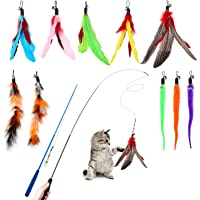 Hianjoo Feather Teaser Cat Toy Set 12 pcs, Interactive Toys for Cats 2 Retractable Cat Wand Funny Sticks and 10…