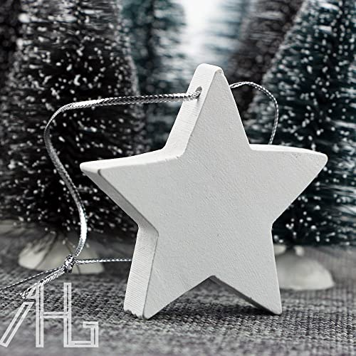 new set 10pcs white wooden stars wedding christmas tree decoration rustic nordic - Nordic Christmas Tree Decorations