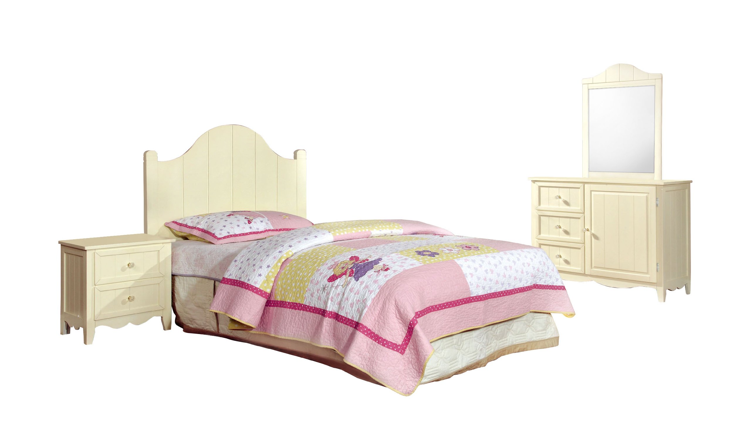 Furniture of America Roxanne 4-Piece Camel Back Style Headboard with Nightstand, Dresser and Mirror Set, Cream