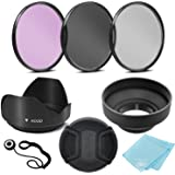 55mm 3 Piece Filter Kit (UV-CPL-FLD) + 55mm Tulip Lens Hood + 55mm Soft Rubber Hood + 55mm Lens Cap + for Select Canon, Nikon, Sony, Olympus, Panasonic, Fuji, Sigma SLR Lenses, Cameras and Camcorders