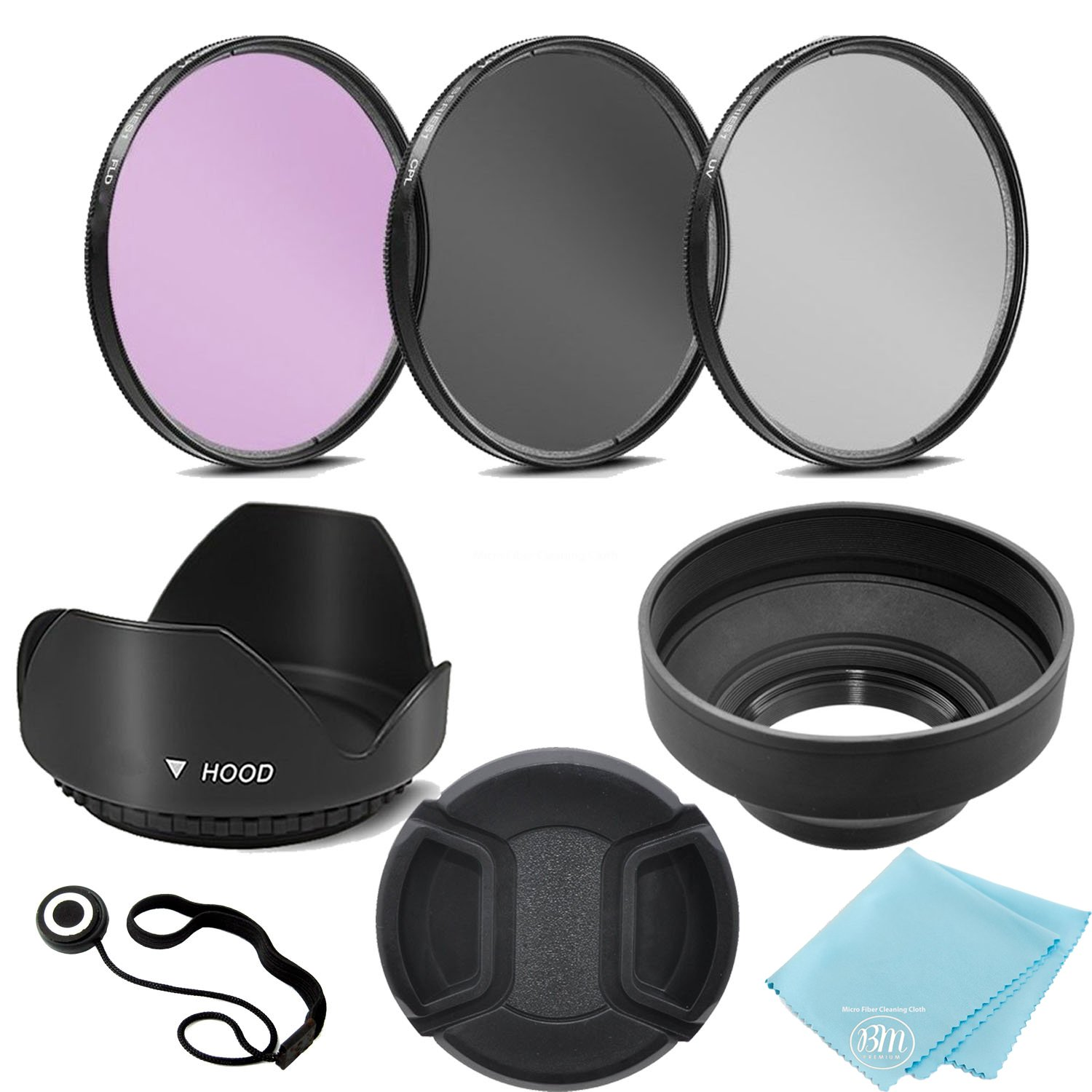 58mm 3 Piece Filter Kit (UV-CPL-FLD) + 58mm Tulip Lens Hood + 58mm Soft Rubber Hood + 58mm Lens Cap + for Select Canon, Nikon, Sony, Olympus, Panasonic, Fuji, Sigma SLR Lenses, Cameras and Camcorders by Big Mike's