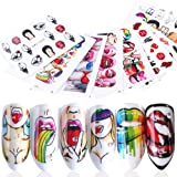BFY Nail Stickers Nail Art Accessories Decals for Women Sexy Lips Cool Girl Rose Nail Art Stickers Manicure Water Transfer Nail Applique Tip Charms Accessories (9Pcs)