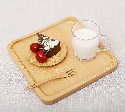 Ecloud Shop Paletas de desayuno de café, bandeja de refrescos bandeja cuadrada de madera occidental