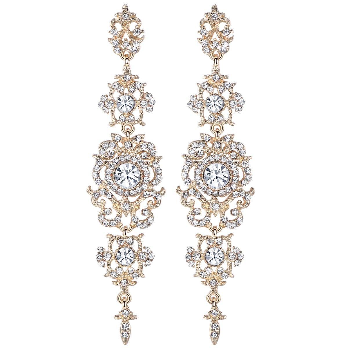 mecresh Gold Long Wedding Chandelier Austrian Crystal Earrings for Women Brides Bridesmaid