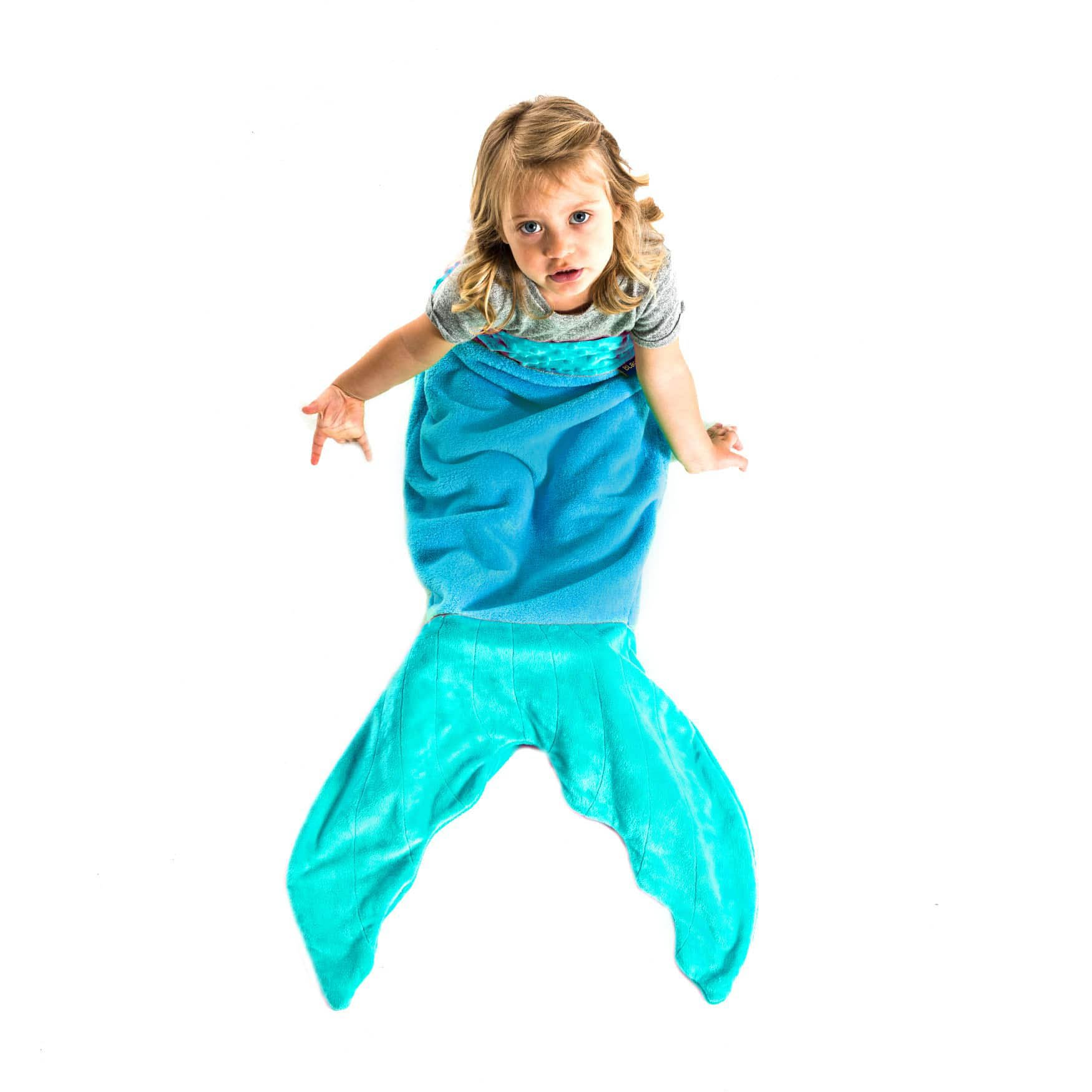 Blankie Tails Teal Mermaid Blanket for Toddlers - Toddler Fleece Blanket That Lets Feet Fit Into The Tail - Perfect Teal Toddler Blanket for Girls by Blankie Tails