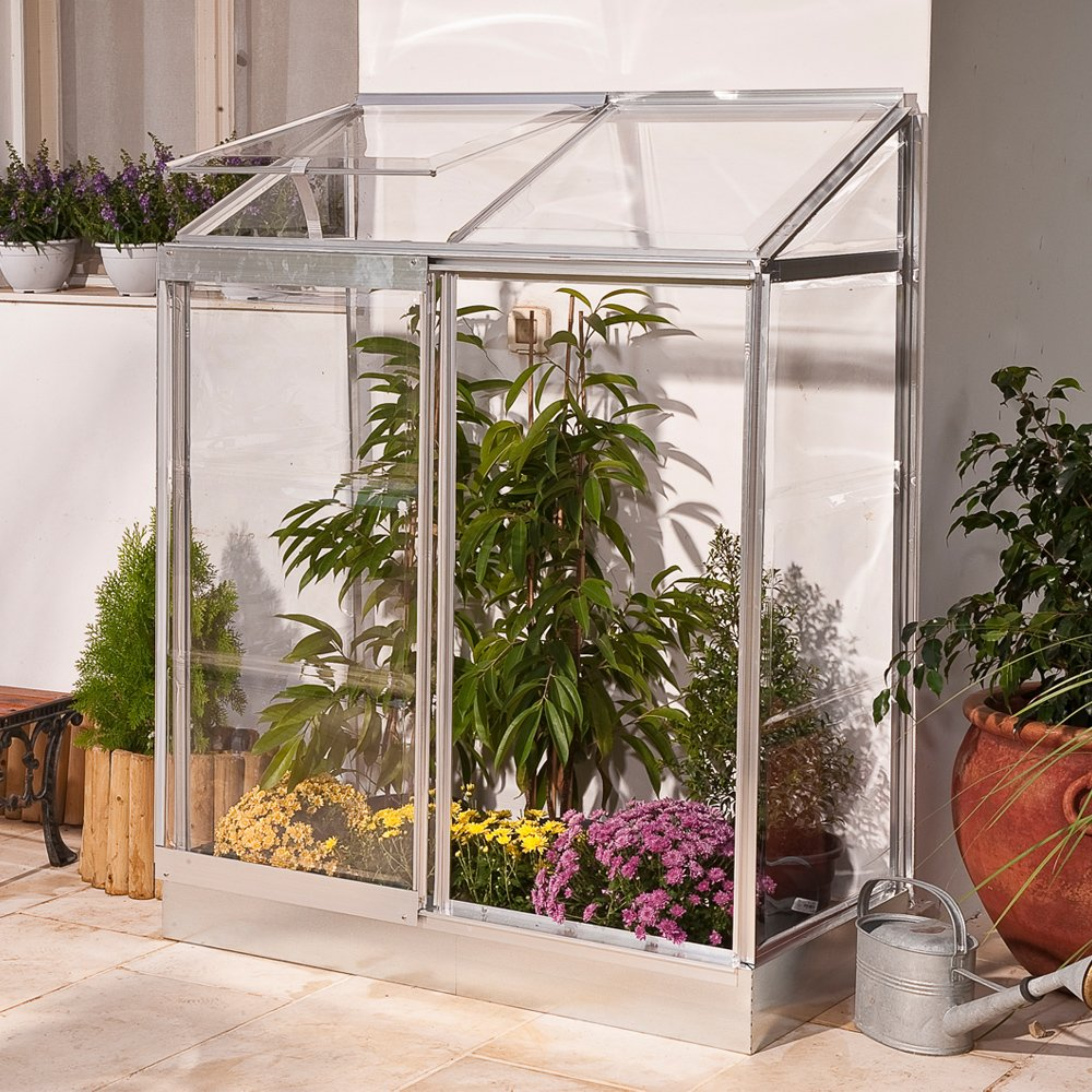 palram 4 x 2ft lean to mini greenhouse and base silver amazoncouk garden u0026 outdoors
