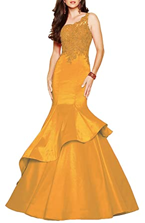 Liaoye Beilite Womens One Shoulder Lace Prom Dresses Mermaid Satin Formal Evening Dress - Gold -