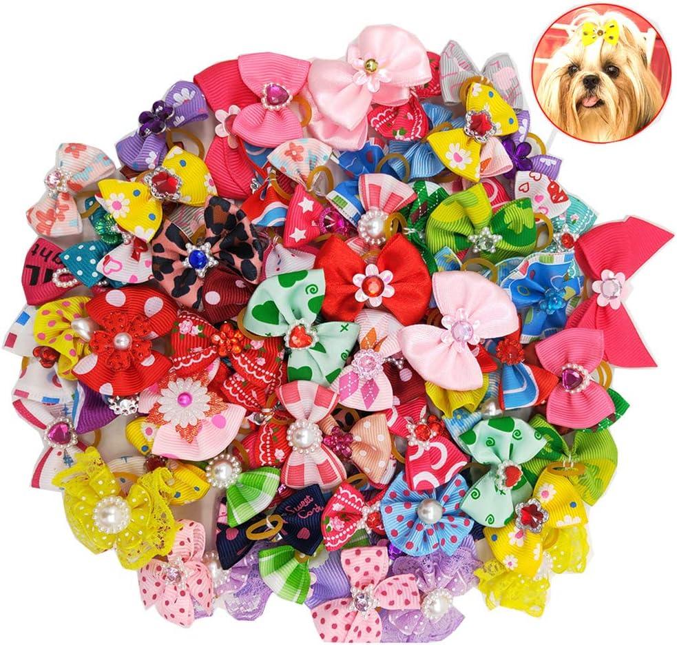 Balacoo 50Pcs Arcos de pelo de perro multicolor con bandas de goma Bandas elásticas de pelo Bowknot Gorros para mascotas Perro de gato (color mezclado)