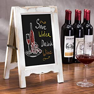 MyGift 9 X 15 inch Small A-Frame Whitewashed Wood Double-Sided Tabletop Chalkboard Sign