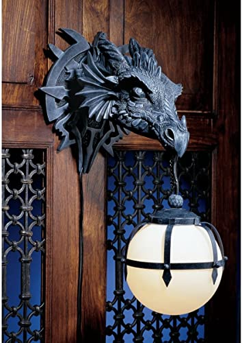 Ebros Large Sculptural Shadow Basilisk Dragon Wall Sconce Electrical Spherical Ball Lamp Fantasy Gothic Wall Plaque Decor