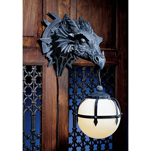 online retailer bdef4 43dc2 Ebros Large Sculptural Shadow Basilisk Dragon Wall Sconce ...