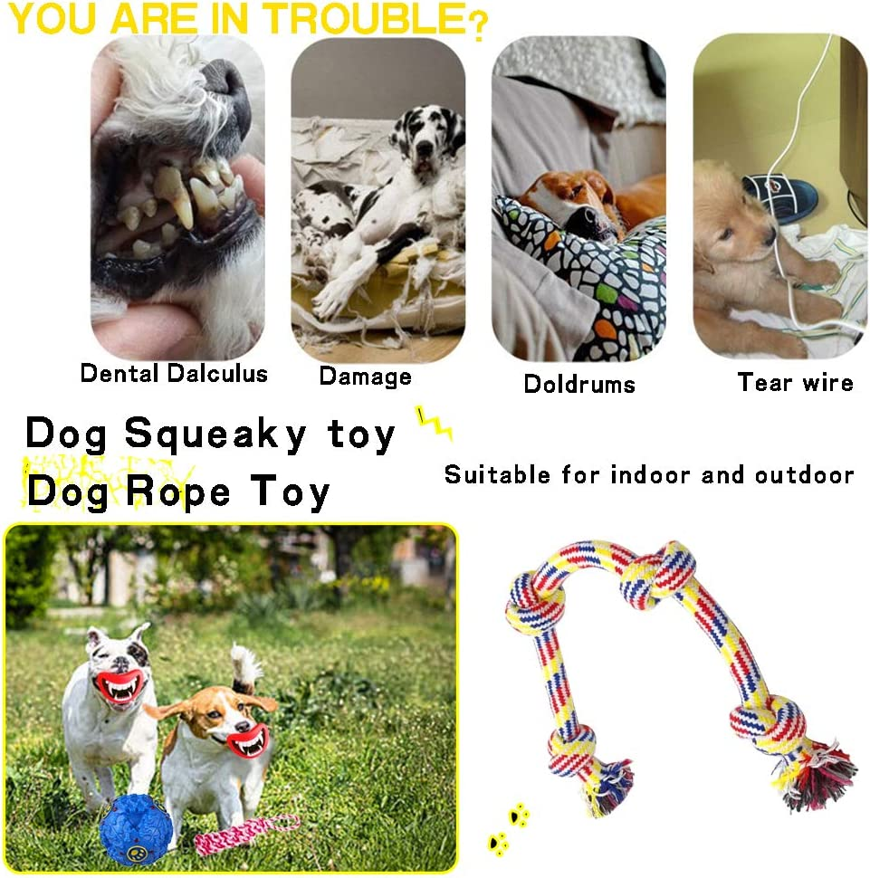 Dog Toy Dog Rope Toy for Aggressive Chewers Small Dog Chew Toys for Puppies Teething Puppy Squeak Toys Durable Tug Rope Knots Ball Toys for Dogs 10 Pack