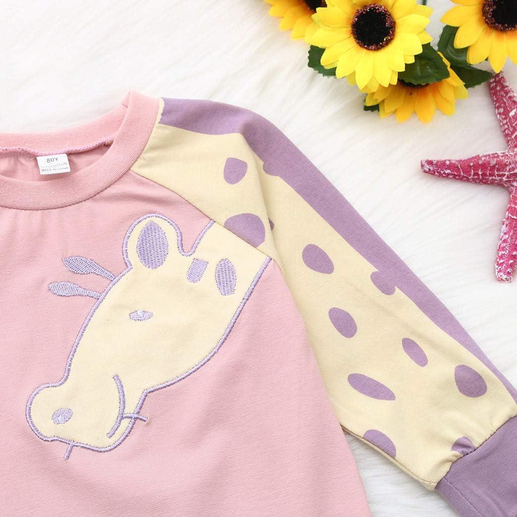 dumanfs Toddler Infant Baby Girls Boys Cartoon Giraffe Print Tops Long Sleeve T-Shirt Outfits Blouse Pullover 6M-4Y