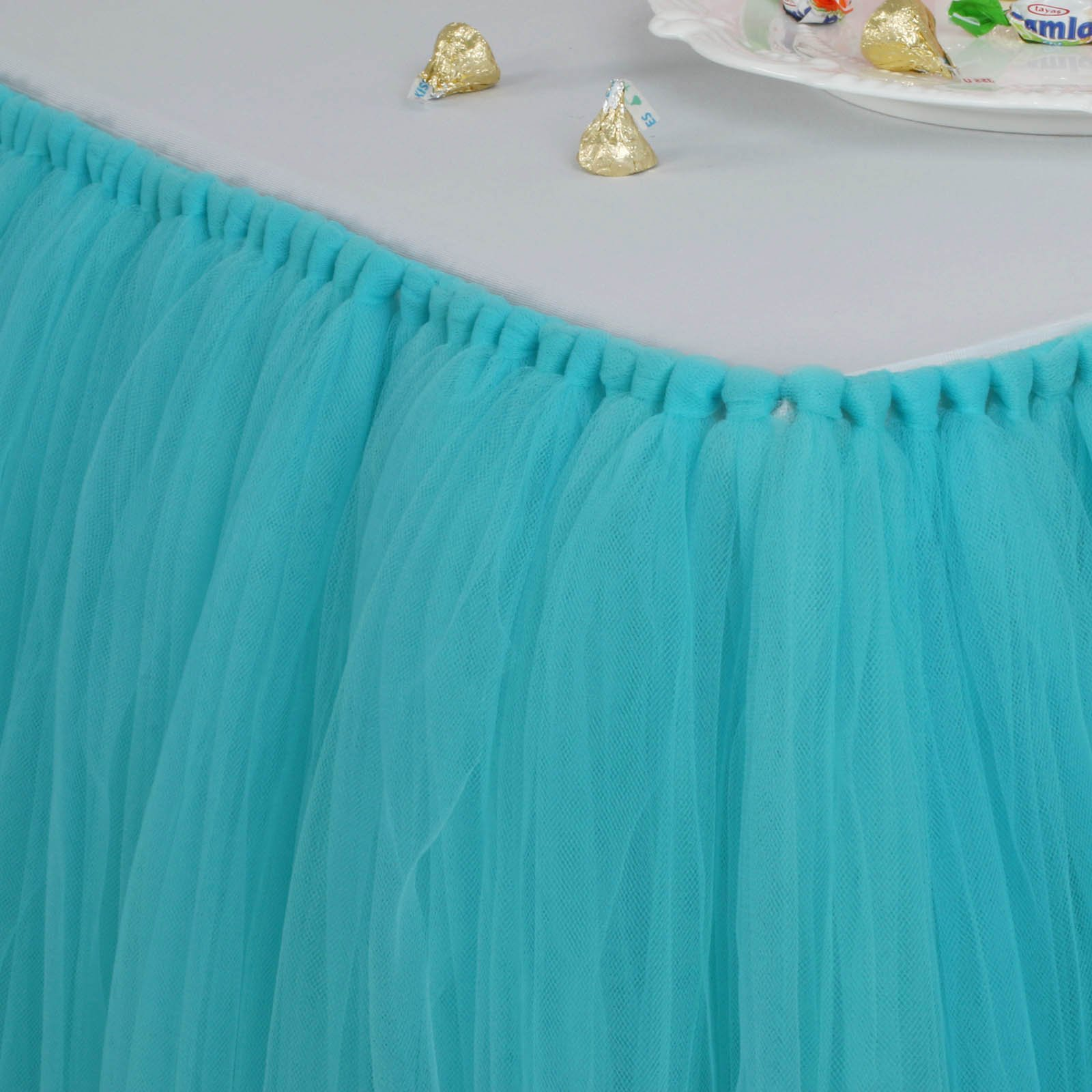 Fivejorya 3.3ft Turquoise Blue Tulle Table Skirt Queen Wonderland Tablecloth Skirting Tutu Tablecloth Tableware for Christmas Wedding Baby Shower Birthday Party Cake Dessert Table Decor by Fivejorya (Image #2)