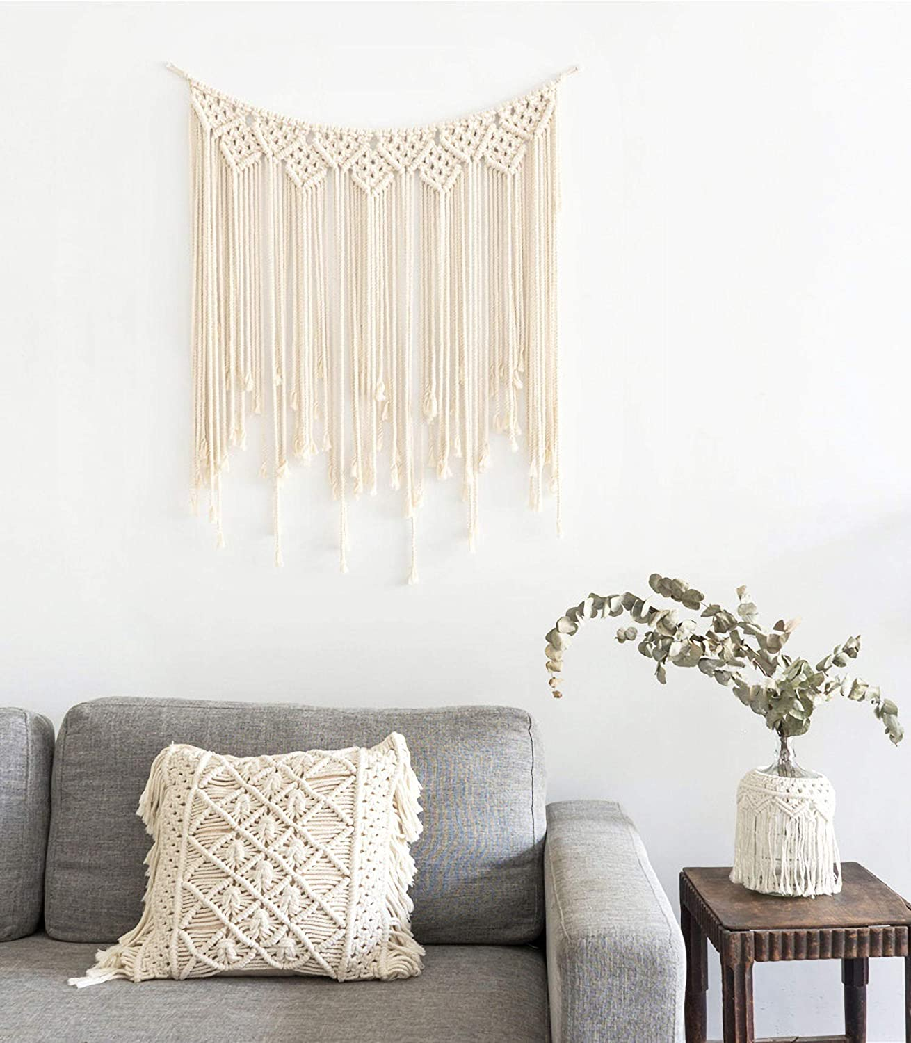 Macrame Wall Hanging Woven Tapestry - Bohemian Home Decor for Apartment Bedroom Living Room Baby Nursery, 42