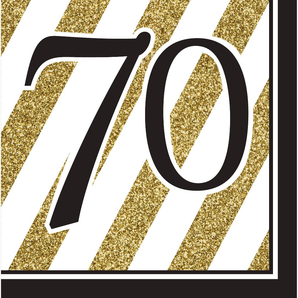 Pack of 192 Gold and White Striped with Black''70'' and Border 2-Ply Party Lunch Napkins