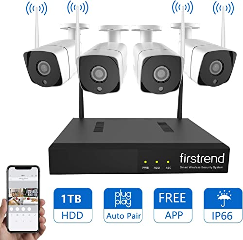 Security Camera System Wireless, Firstrend 8CH 720P Wireless Security System with 4pcs HD Security Camera and 1TB Hard Drive Pre-Installed, 65ft Night Vision and Easy Remote Monitoring