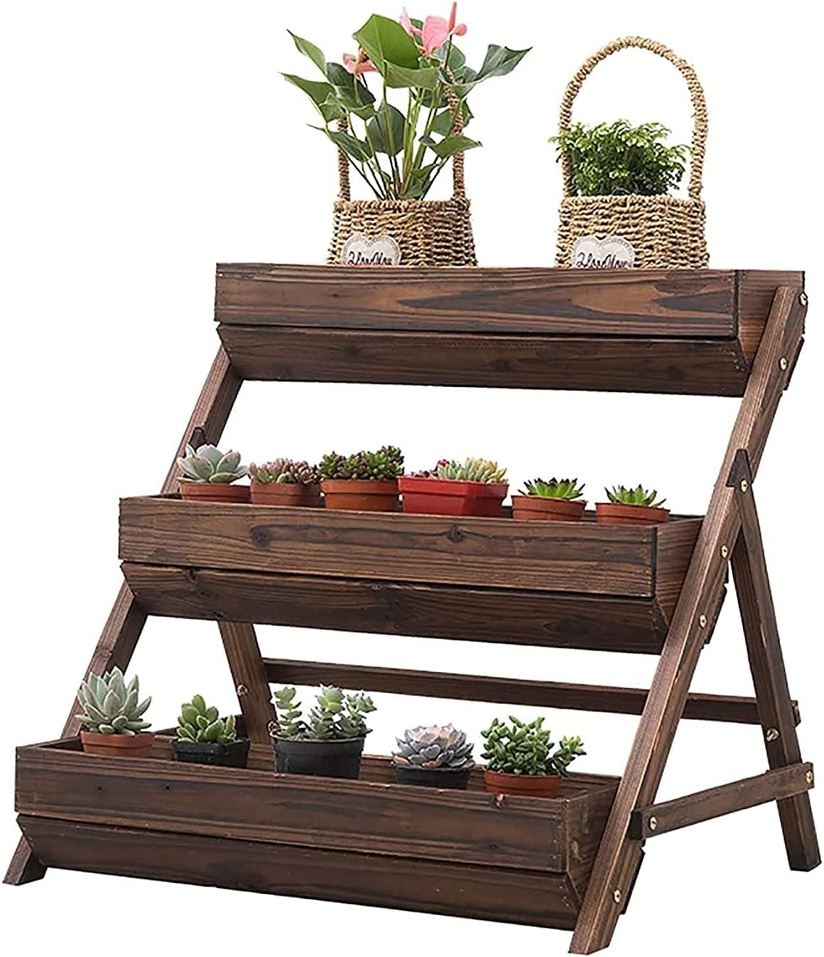Green Flower Window Box Plastic Vegetable Planters Freestanding Planter 3 Container Boxes Raised Garden Bed Elevated Bed-Vertical for Indoor Outdoor Terrace Balcony for Windowsill, Patio, Garden, Home