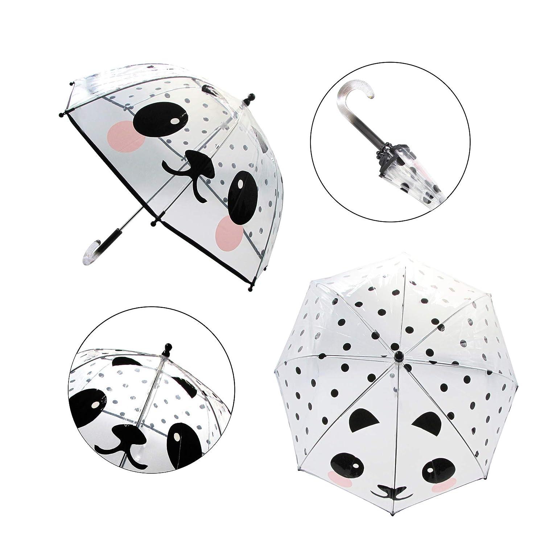 Laura Ashley Kids Cartoon Umbrella Pop up Umbrella Lightweight Windproof Clear Umbrella Dome for Kids Pink Cat