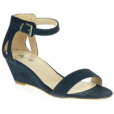 AARZ LONDON Femmes Dames Brillant Soir Mariage Fête de Mariée Promo Plate Forme Talon Compensé des Sandales Chaussures Taille