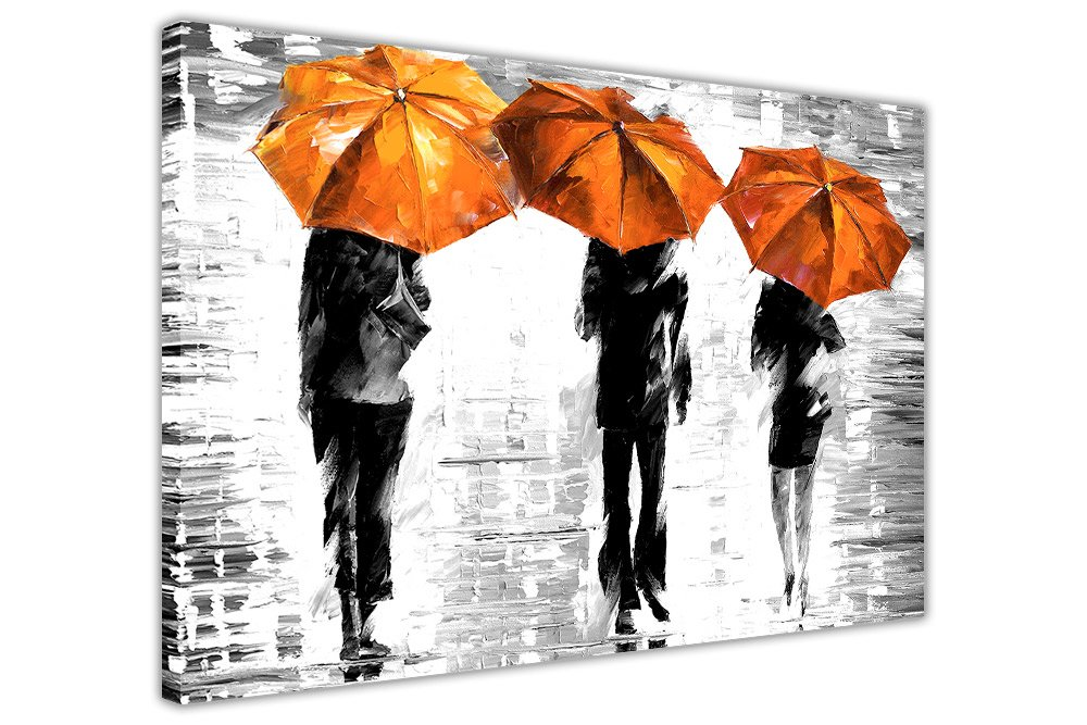 3 orange umbrellas by leonid afremov canvas wall art prints framed pictures black and white abstract posters home deco size 40 x 30 101cm x 76cm