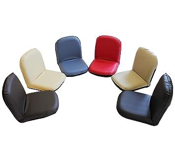 5段階リクライニング式コンパクト座椅子(合成皮革タイプ) (アイボリー)