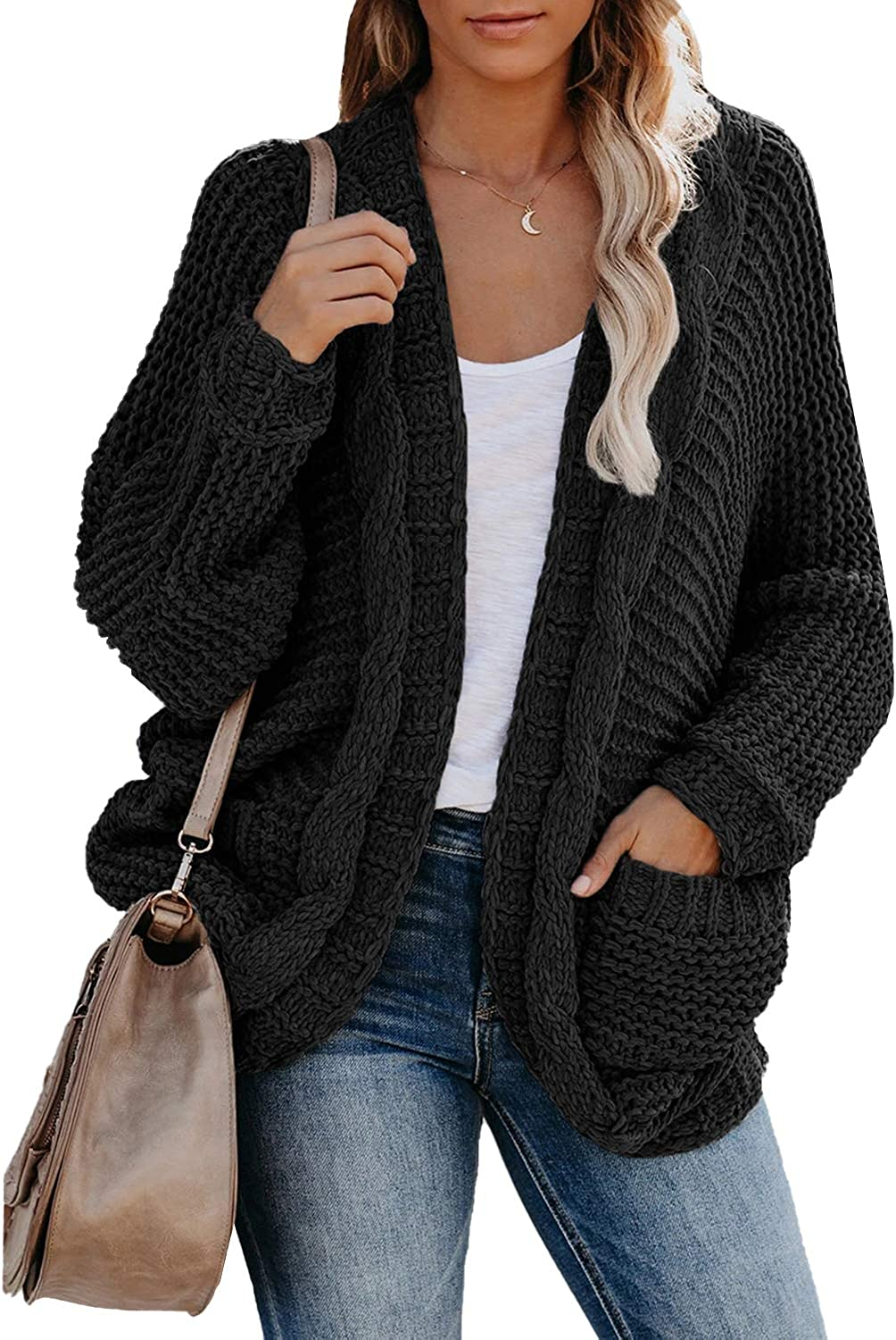 Astylish Women Open Front Long Sleeve Chunky Knit Cardigan Sweaters with Pockets