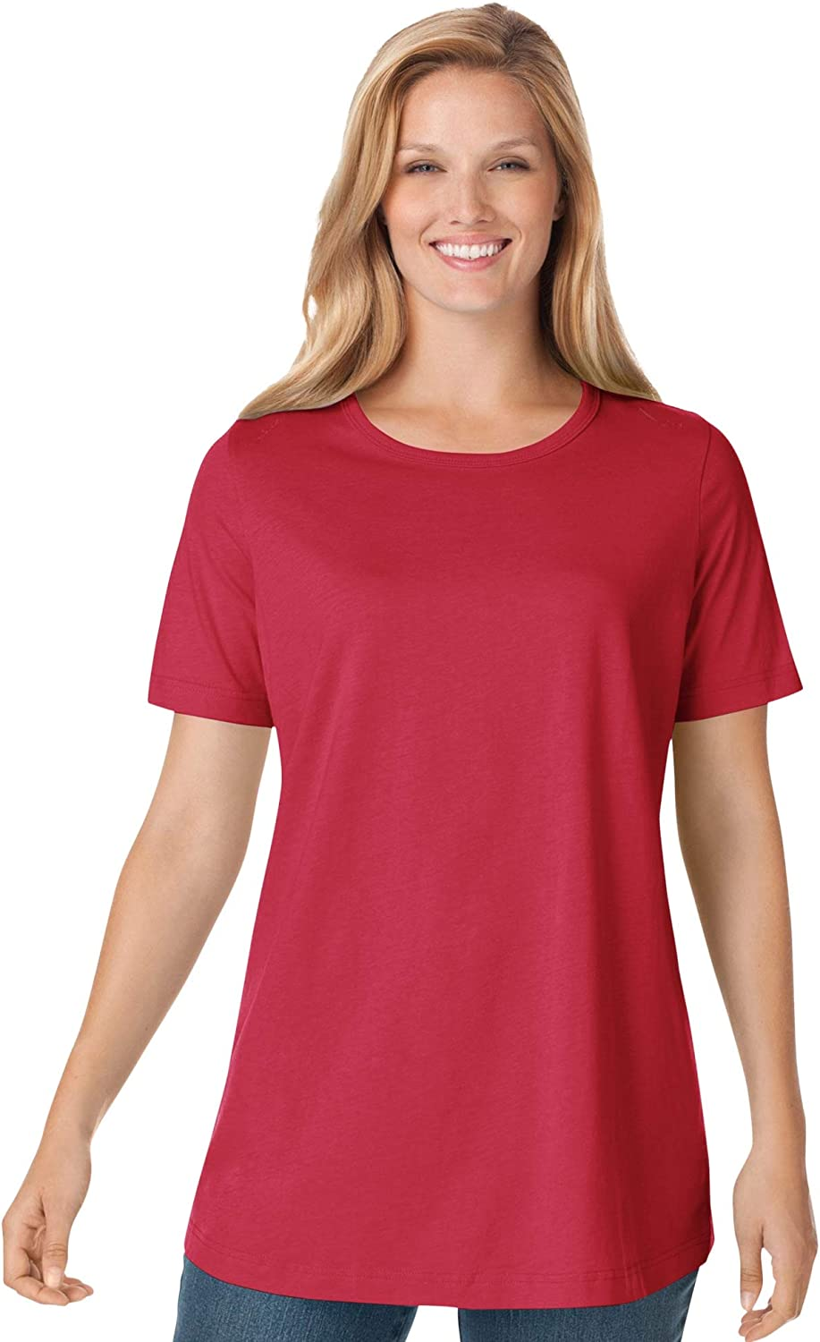 Woman Within Women's Plus Size Perfect Short-Sleeve Crewneck Tee
