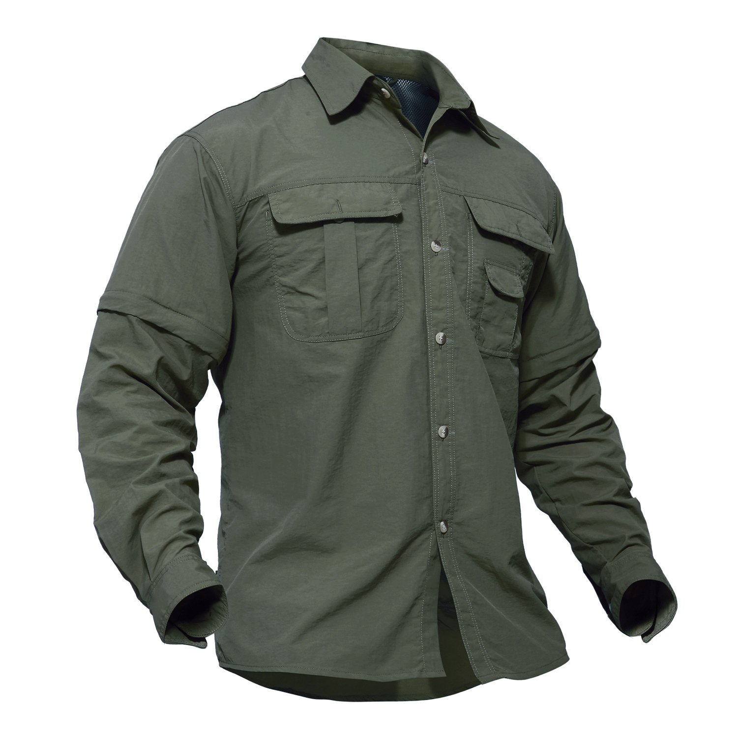 TACVASEN Outdoor Sport Military Tactical Battle Ripstop Long Sleeve Shirt for Men Army Green