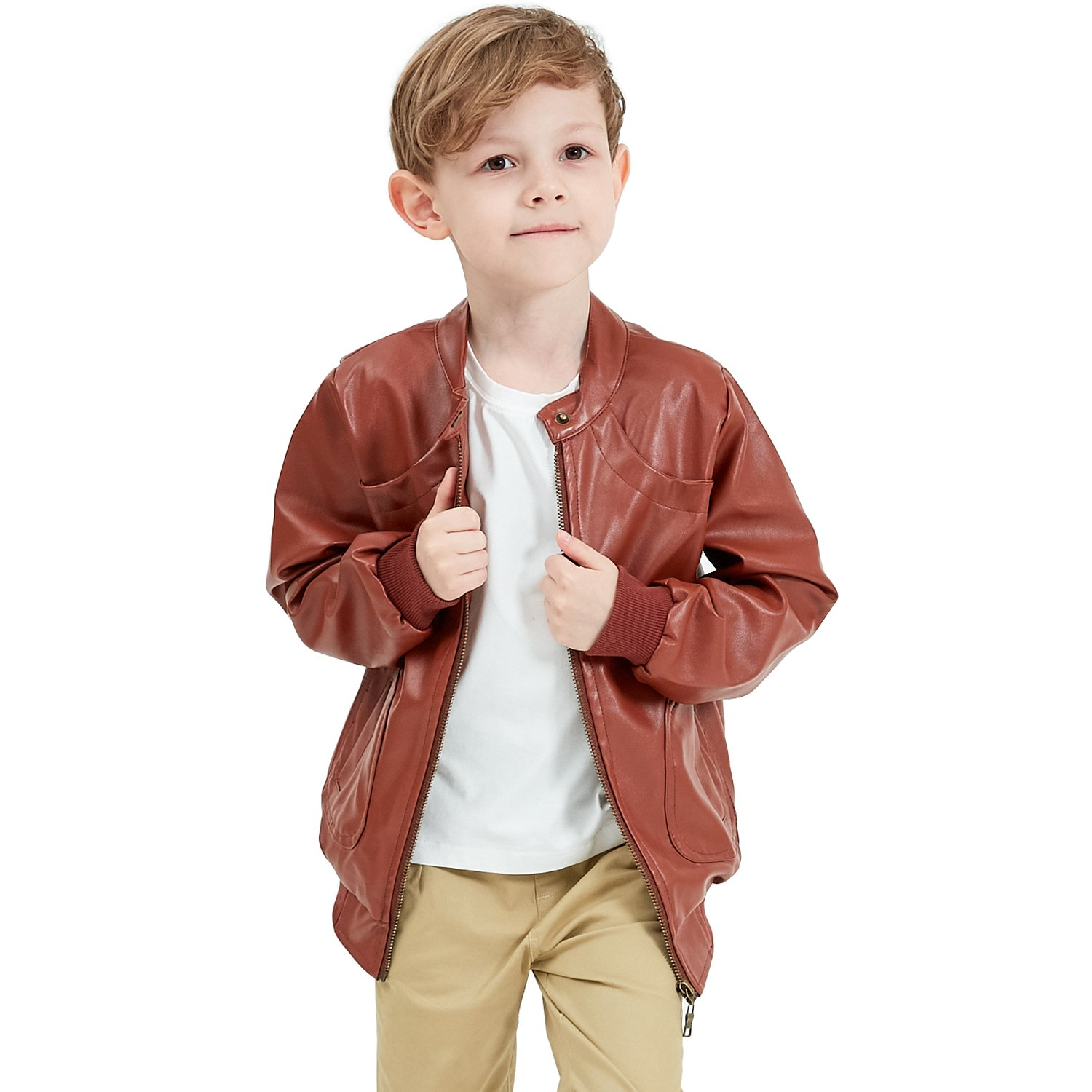 Encontrar Faux Leather Jacket for Boys Trendy Stand Collar Coat 5-14