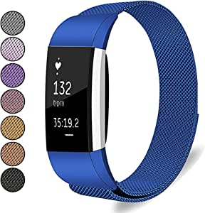 Mosonoi Compatiable with Fitbit Charge 2 Bands, Adjustable Metal Straps Replacement Bands Charge 2 Accessories Fit for Fitbit Charge 2 Smartwatch Women Men(Small, Blue)