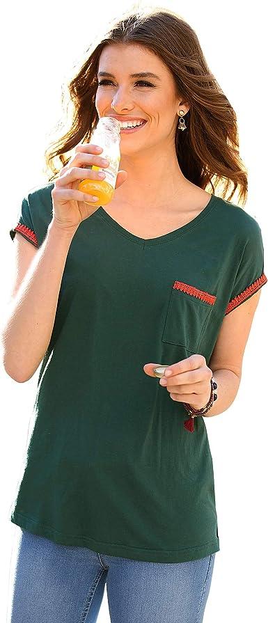 VENCA Camiseta de Escote v con canesú Fruncido en la Espalda Mujer - 018384