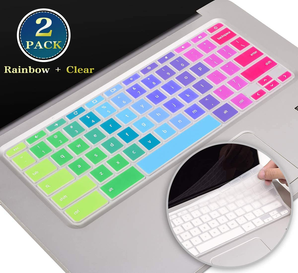 Colorful Keyboard Cover Skin for HP Chromebook 14 Inch 14-ca 14-db 14-ak, HP Chromebook 14 G2 G3 G4 G5 Series, HP Chromebook 11 G2, G3, G4, G5, G6 EE,G7 EE Series Protector(Rainbow+Clear)