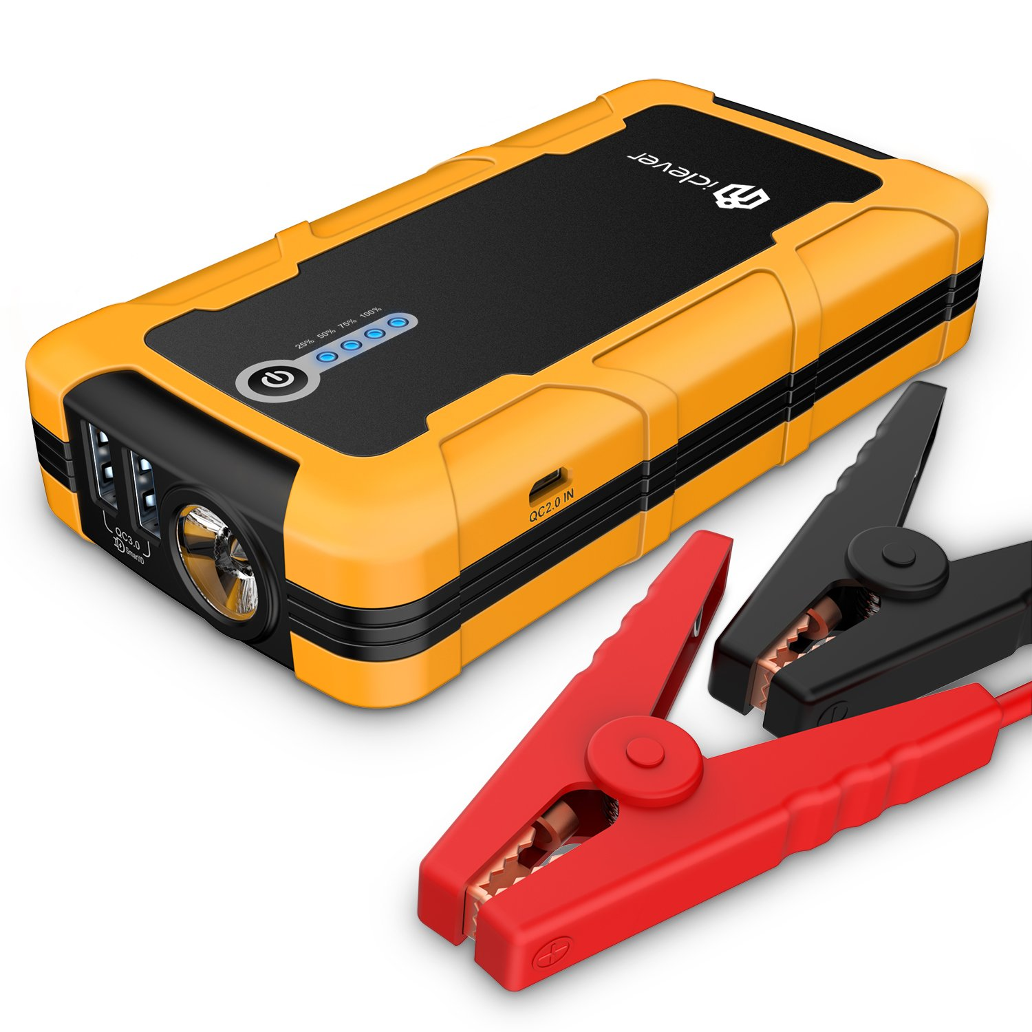 iClever 15000mAh Portable Car Jump Starter Auto Battery Charger Quick Charger Power Bank Phone Charger with Smart Clamps