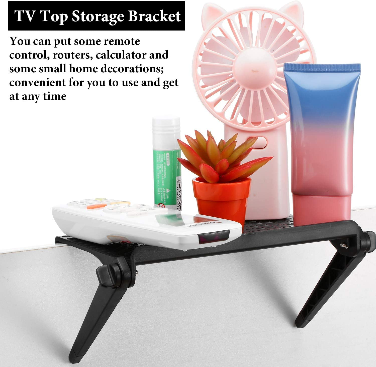 Game Console and Home Decor 3 Pieces Screen Top Shelf 8.5 Inch TV Top Storage Bracket 2-Leg Adjustable Monitor Top Shelf for Cellphone Stand Media Boxes Router
