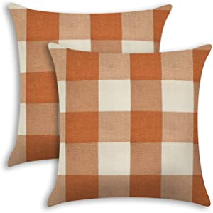 Ogrmar 2PCS Throw Pillow Covers Buffalo Check Plaid Cushion Cover Decorative Square Pillow Cases for Sofa Couch Home Car Decor (Orange and White, 18